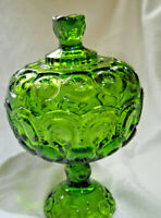 L.E. Smith Moon and Star Large green glass Candy/Compote
