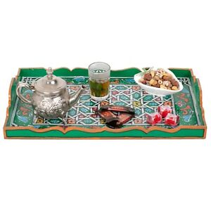Moroccan Green tray, Serving Tray Bohemian, Hand Painted Decorative Tray,