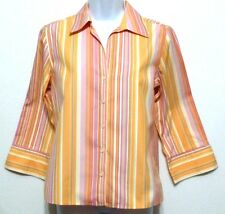 Talbots Ladies Pink and Peach Stripe Cotton Button Front Shirt - Sz 4
