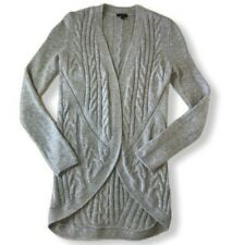 Talbots Women's Cardigan Sweater Petite Heather Gray Wool Cashmere Open Front