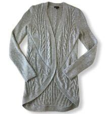 Talbots Sz Petite Women's Cardigan Sweater Heather Gray Wool Cashmere Open Front