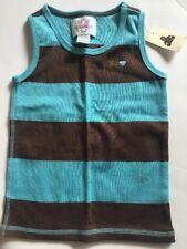 NWT Baby GAP Girl Aqua Blue Brown Stripe Tank Top Shirt Sz 3 3T