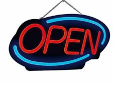 Royal Sovereign Led Open Business Sign 1 Each Red Lettering Blue Wall Decor