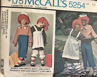 McCalls Costumes 5254 Raggedy Ann and Andy Children Size 2-4 Uncut 1976 VTG