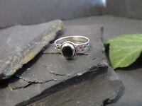 Hübscher 925 Silber Ring Schwarz Onyx Jugendstil Art Deco Modern Retro Elegant