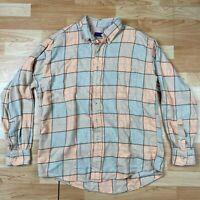 J McLaughlin Men's Long Sleeve Shirt Plaid Flannel Button Up Size Large Cotton