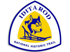 4x4 inch IDITAROD Trail National Scenic Sign Shaped Sticker -decal hike dog sled