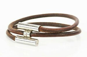 Authentic HERMES Tournis Silvertone and Brown Leather Bracelet #37446