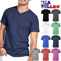 V Neck T Shirt Short Sleeve Tri Blend Blank Tee Slim Fit Casual Top Plain Men
