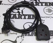 Marten® Schuko European Plug to UK 1 Gang 13a Socket Extension Lead for Holiday
