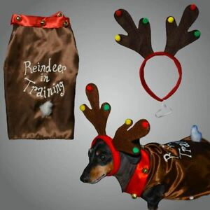 Christmas Pet Dog Reindeer Costume With Headband Small, Pet Gift