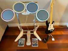 Nintendo Wii Rock Band Bundle - Drums Wireless Fender Guitar Dongle Mic andGames
