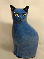 Cat Figurine Blue Sponge Ware Glaze Ceramic Porcelain European Mark (?)