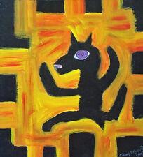 Black Dog Halloween Outsider Art Print 8x8 by Artist Kimberly Helgeson Sams 2019