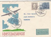 Denmark 1949 Air Mail Plane Illust. Flying Slogan Cancels Stamps Cover Ref 45793