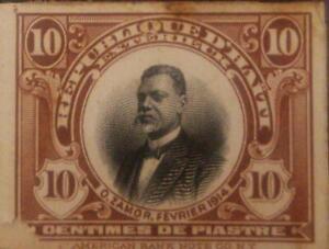 A) 1914, HAITI, ORESTE ZAMOR, LITTLE THIN ON LOWER LEFT, DIE PROOF, AMERICAN BAN