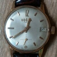 Dogma 17 Vintage Watch Swiss Rubis Mechanical Prima Rare Made Jewels Gold Plated