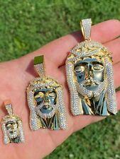 14k золото на реальном серебро 925 пробы ледяной Иисус изделие кулон со льдом мужчины ожерелье