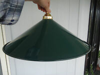 vintage large green metal and brass ceiling pendant light shade industrial