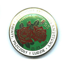POLISH pin badge - Festival of flowers and bees - APIMONDIA ROSES - green colour