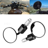 """Black 7/8"""" 22mm Motorcycle Motorbike Alloy Bar End Side Rearview Mirrors Round"""
