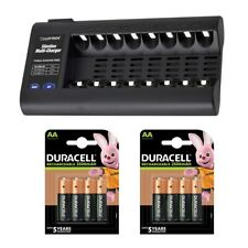 Lloytron 8 Bay Battery Charger with 8 Duracell 2500mAh AA Rechargeable Batteries
