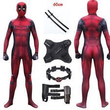 Costume Deadpool adulti vestito completo di accessori con spade set professional
