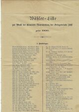 WÄHLER-LISTE- DER ORTSGEMEINDE ISCHL VON 1900- 4 SEITEN- GRÖSSERES FORMAT