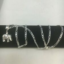 """925 Sterling Silver Elephant Pendant Chain 20"""" Necklace"""