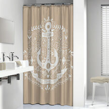 Extra Long Shower Curtain 72 X 78 Inch Sealskin Anchor Beige And White Fabric