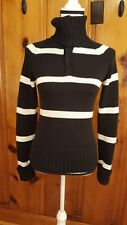 Polo Jeans Co. Ralph Lauren women's Size S Knit Sweater Striped 1/4 Snap on Neck