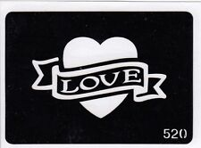 GT520 Body Art Temporary Glitter Tattoo Stencil  Love Heart