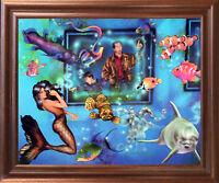 Lady Mermaid in Aquarium with Ocean Fish Fantasy Wall Art Decor Framed Picture