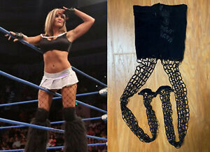 Velvet Sky Signed Autographed Impact Event Worn Black Fishnet Pantyhose