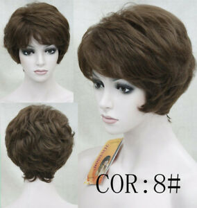 Women Wig Short Straight Capless Brown Synthetic Hair Bob Wig