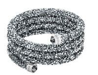 NIB$129 Swarovski Crystaldust Wide Bangle Triple Bracelet Grey Size S #5292443