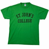 Vintage Russell Athletic Mens St. John's College 90s Green T-Shirt Size Medium