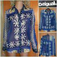 DESIGUAL Colored translucent blouse-SHIRT.Flowers.Long sleeve.Size XS / S