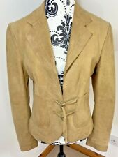 Stills  Size 12 Jacket Real Suede Short Light Brown Tan Buckles And Pockets