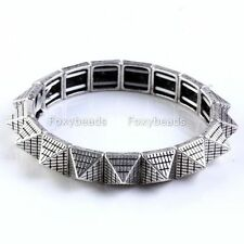 Antique Silvery Punk Pyramid Rivet Spike Stud Bracelet Bangle Elastic Rock Cuff