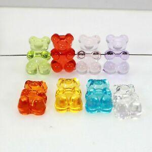 50 Mixed Color Transparent Acrylic Gummy Bear Beads 19mm DIY Bracelet Jewelry