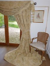 LAURA ASHLEY Interlined CURTAINS & Swag FLORAL DAMASK Cotton Brocade FABULOUS