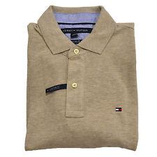 Tommy Hilfiger Men's Short Sleeve Polo Oatmeal Beige Shirt Custom Fit Size L