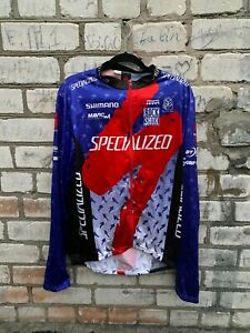 specialized jacket multi logo cycling red blue men size xxl long sleev