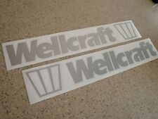 "Wellcraft Vintage Boat Decal Silver 18"" 2-PAK FREE SHIP + FREE Fish Decal!"