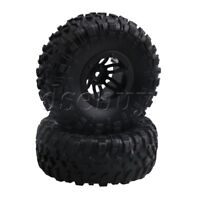 """4x S Pattern 2.2""""  RC1:10 Inflatable Tires OD135mm & Alloy Black Wheel Rim"""
