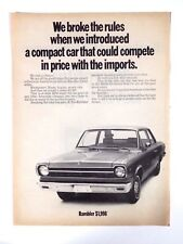 1969 AMC Rambler Original Print Ad American Motors Automobile Car