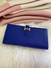 NEW HERMES Bearn Bi-fold Wallet Blue Electric Cherve Lambskin Leather BNIB GHW