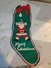 """Vtg Kitschy Felt Christmas Stocking Green w/Santa Ribbon Merry Christmas 25"""""""