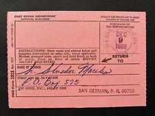 Puerto Rico 1968, USPS FORM 3811, Salvador Morales San German